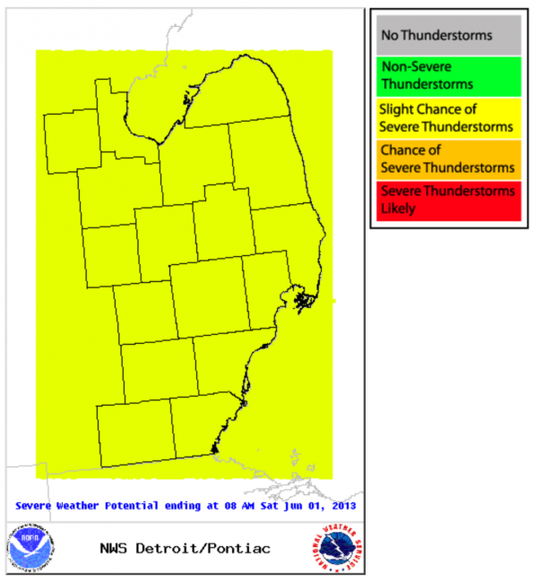 NWS Detroit area severe weather outlook May 30, 2013