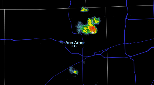 Ann Arbor crop from KDTX Reflectivity Tilt 2, 1:20pm June 24 2013