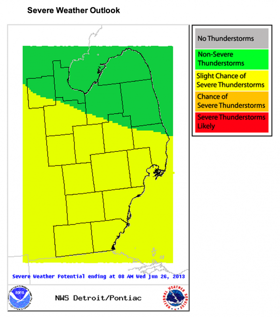 Severe weather outlook via NWS Detroit June 25, 2013